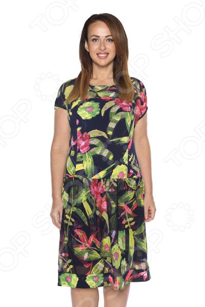Платье Kontaly «Райский сад». Цвет: синий, зеленый платье halens цвет синий зеленый
