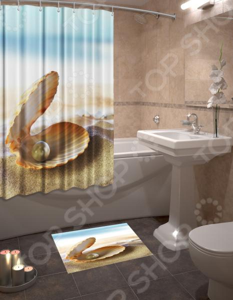 Набор для ванной комнаты: шторка и коврик ТамиТекс «Жемчужина» цена