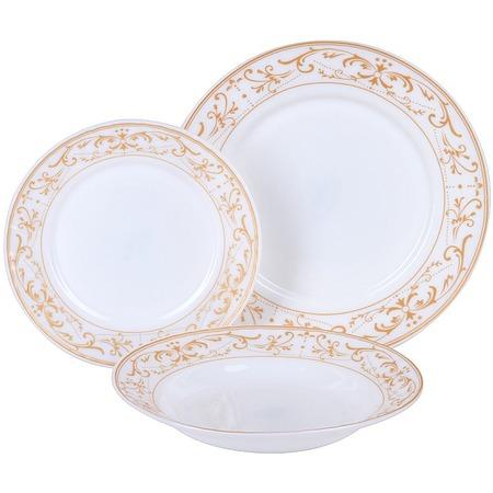 Купить Набор столовой посуды Rosenberg «Грация». Количество предметов: 18. Рисунок: золотое украшение