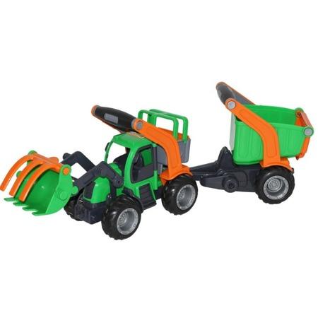 Купить Машинка игрушечная Wader «ГрипТрак. Трактор-погрузчик с полуприцепом»