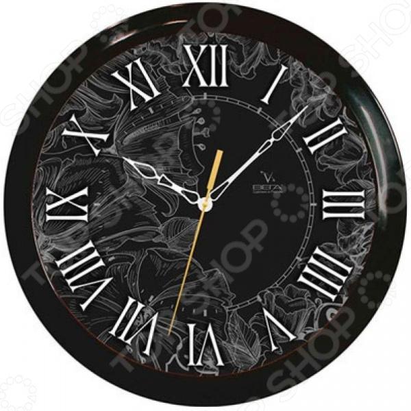 Часы настенные Вега П 1-6/6-210 «Римские. Тонкий рисунок» часы настенные вега п 1 674 6 304 черно белые ромашки