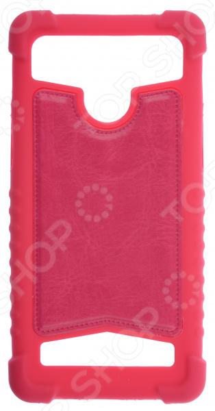 """Бампер универсальный skinBOX для смартфона. Диагональ дисплея: 4""""/4.5"""". Цвет: красный"""