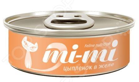Корм консервированный для кошек Mi-Mi с цыпленком в желе консервы mi mi feline nutrition с креветками кусочки в желе для кошек 80г