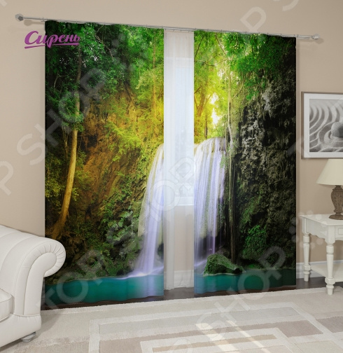 Фотошторы Сирень «Водопад для двоих»