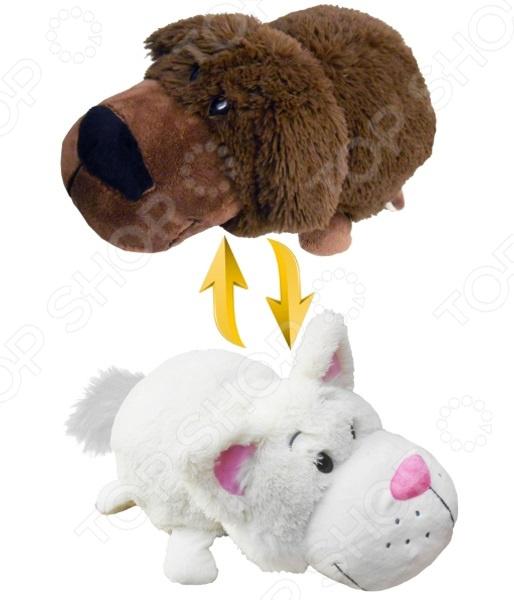Мягкая игрушка 1 Toy «Вывернушка 2в1: Шоколадный лабрадор-Белый Кот»