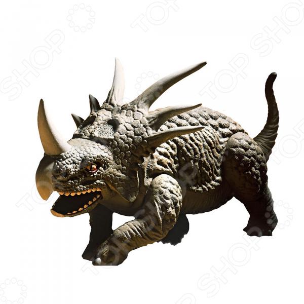 Сборная модель динозавра Revell Стиракозавр станет настоящим подарком для вашего ребенка. Все детали модели выполнены из пластика. Они имеют специальные зажимы, которые позволят собрать модель без склеивания. Но для лучшей прочности рекомендуется использовать клей для этого материала. После сборки динозавра необходимо самостоятельно покрасить. После всех проделанных усилий результат поражает. Динозавр выглядит почти как настоящий, благодаря высокой детализации.  Особенности модели  В собранном виде Стиракозавр достигает в высоту 17,6 сантиметров.  Модель состоит из 31 деталей.  Масштаб модели 1 13.  В набор уже включены 4 банки с акриловой краской, кисточка и клей для пластика. Этих расходных материалов будет достаточно для сборки данного динозавра. Они не станут лишними и при сборке других моделей.  Модель рекомендована для взрослых и детей в возрасте от 10 лет. Почему Revell На протяжении многих десятилетий сборные модели американской компании Revell занимают лидирующие позиции практически во всем мире. Изделия отличаются отличным качеством и проработкой мельчайших элементов. Каждая модель сборного динозавра представляет собой комплект, который состоит из деталей разной формы. Все они без особого труда соединяются между собой.