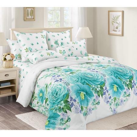 Купить Комплект постельного белья Королевское Искушение «Камелия». Цвет: голубой. Евро