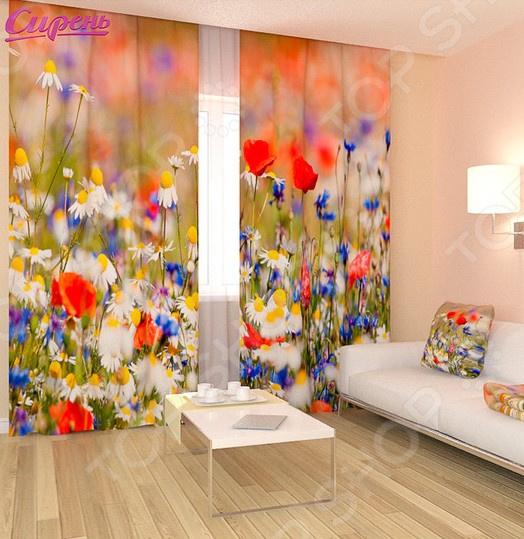 Фотошторы Сирень «Полевые цветы» шторы для комнаты drdeco шторы цветы дизайн 21