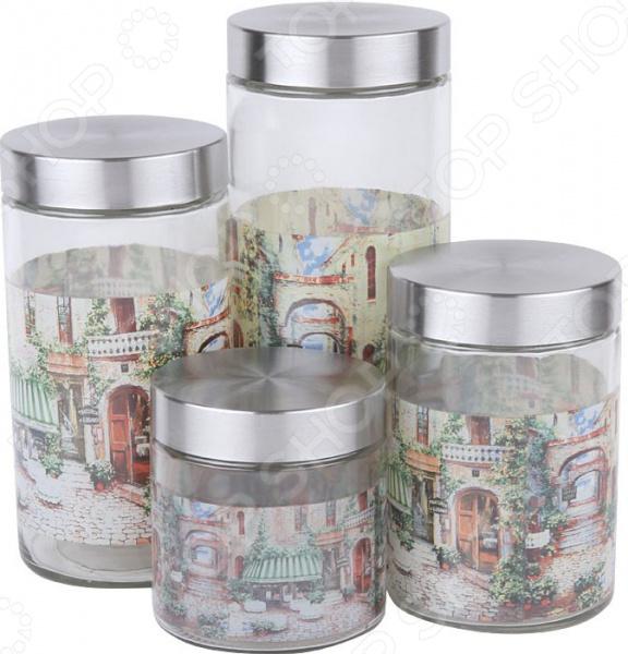 Набор банок для сыпучих продуктов Rosenberg RGL-220011-4 чайник заварочный rosenberg rgl 250019 1 1l