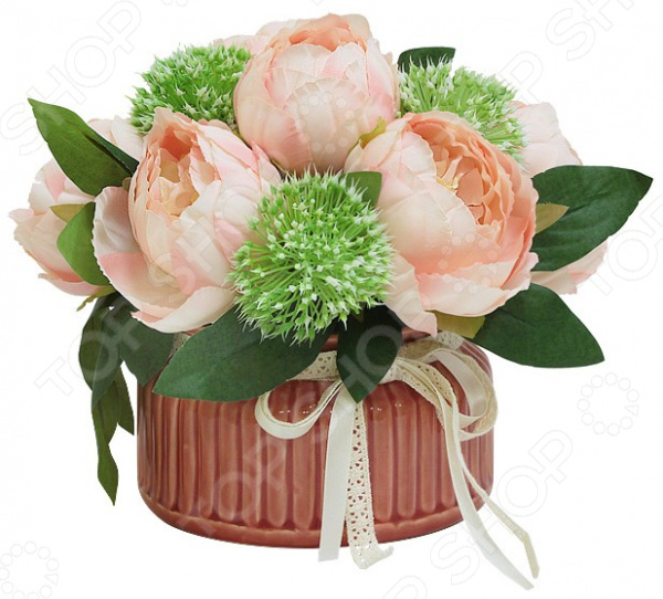 Декоративные цветы Dream Garden «Розы розовые» в керамической вазе куплю декоративные растения в севастополе