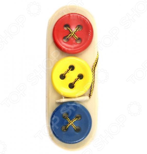 Игрушка развивающая RNToys «Пуговицы-шнуровки 3 в ряд»
