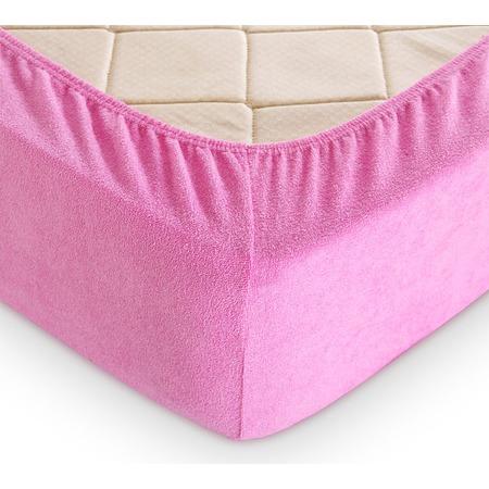 Купить Простыня на резинке ТексДизайн махровая. Цвет: розовый
