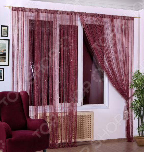 Шторы нитяные Алтекс «Шар» с люрексом. Цвет: бордовый шторы томдом классические шторы вольтер к цвет бирюзовый