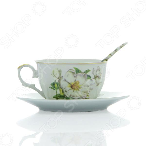 Чашка чайная с блюдцем и ложкой Elan Gallery «Белый шиповник» 180692