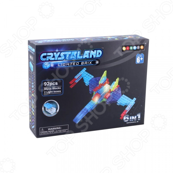 Конструктор со световыми эффектами N-BRIX Crystaland «Военный самолет 6 в 1» lite brix