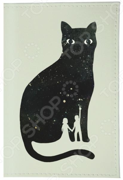 Обложка для паспорта кожаная Mitya Veselkov «Космическая кошка» цена