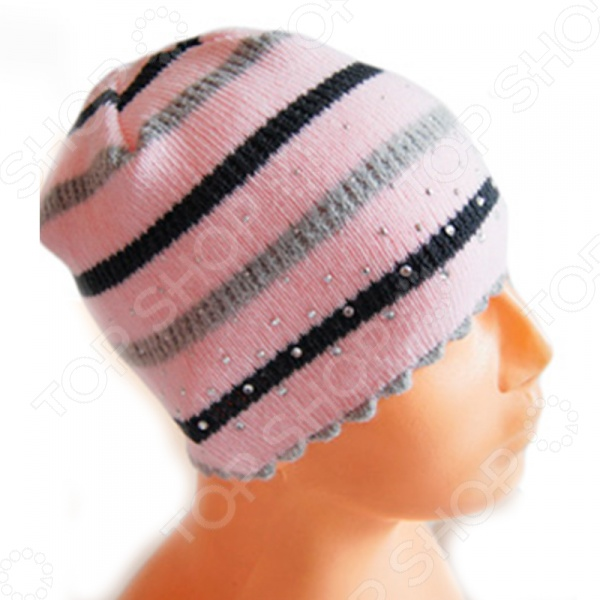 Шапка для девочек EKO со стразами. Рисунок: цветные полоски