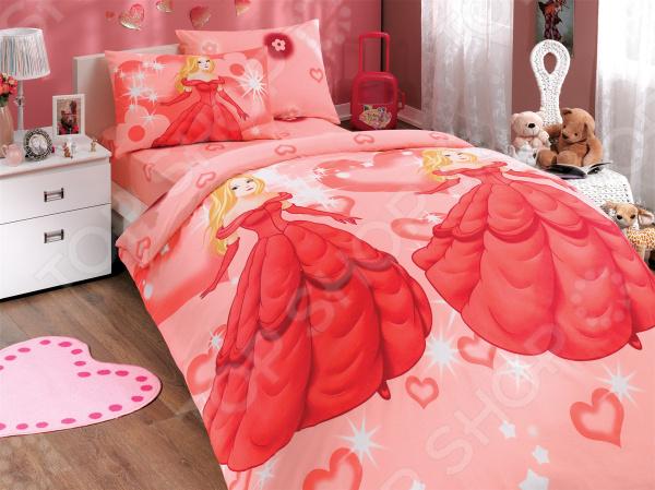 Детский комплект постельного белья Hobby Home Collection Prenses. Цвет: красный