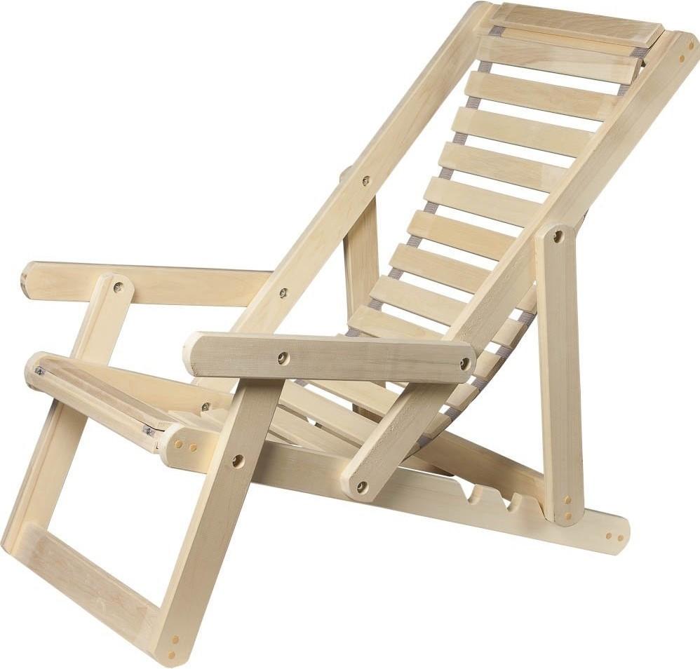 Шезлонг Банные штучки деревянный с подлокотниками