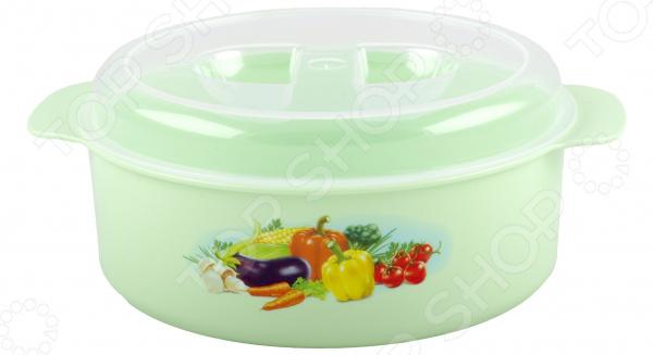 Набор кастрюль для СВЧ-печи Полимербыт с рисунком. Цвет: салатовый