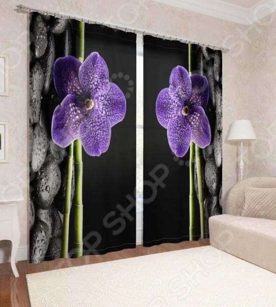 Фотошторы Сирень «Фиолетовая орхидея» фотоштора tomdom фотошторы белая орхидея