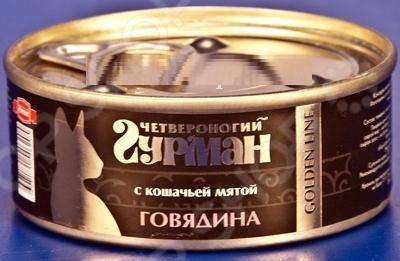 Корм консервированный для кошек Четвероногий Гурман «Говядина с кошачьей мятой»