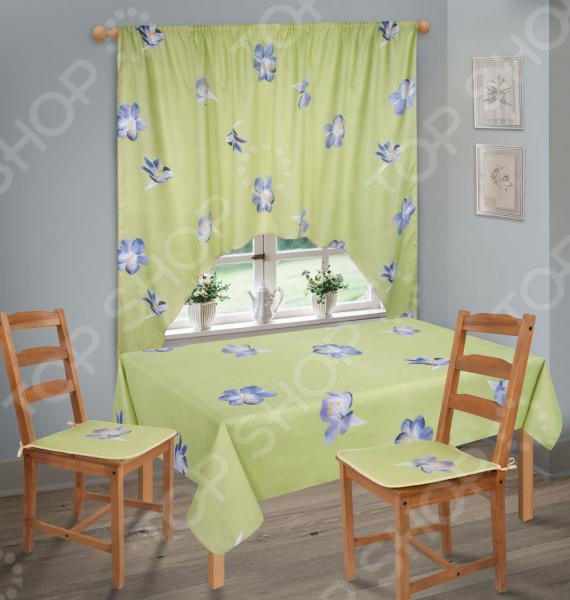 фото Набор кухонный. Количество предметов: 6. Рисунок: голубые цветы, Скатерти. Салфетки