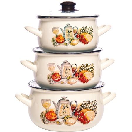 Купить Набор эмалированной посуды «Семейная традиция». Рисунок: аппетит