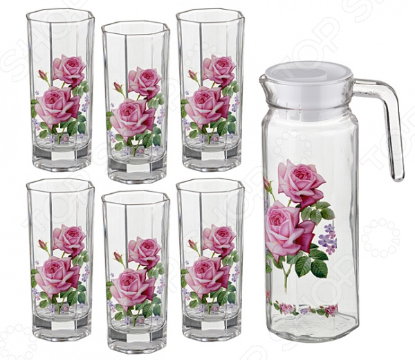 Набор: кувшин и 6 стаканов «Розы»