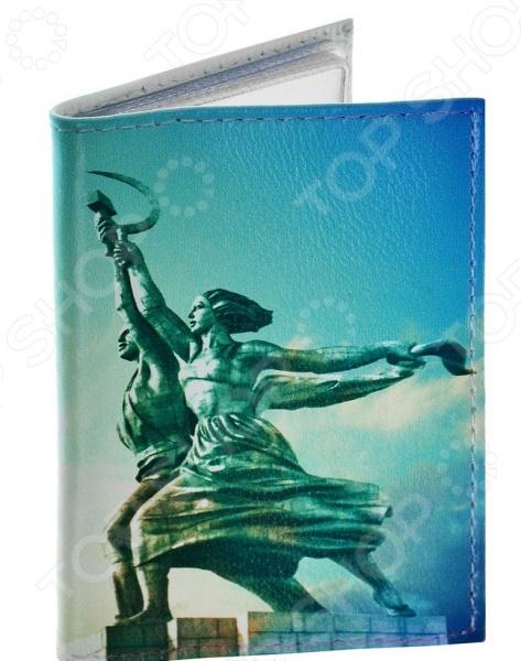 Обложка для автодокументов кожаная Mitya Veselkov «Рабочий и колхозница»
