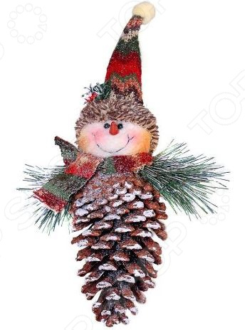 Подвес декоративный Новогодняя сказка «Снеговик-шишка»