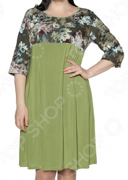 Платье Лауме-Лайн «Цветочная краса». Цвет: оливковый