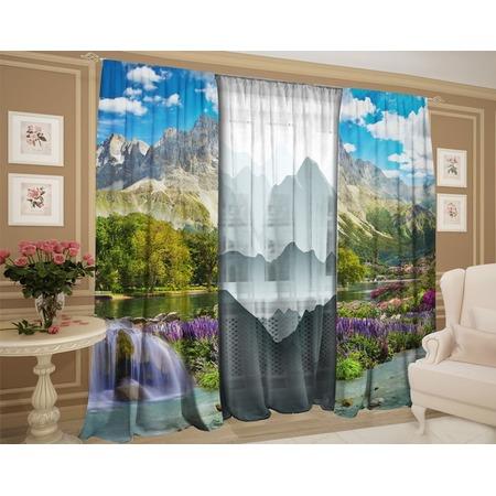 Купить Фотокомплект: тюль и шторы ТамиТекс «Горный пейзаж графика»