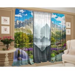 Фотокомплект: тюль и шторы ТамиТекс «Горный пейзаж графика»