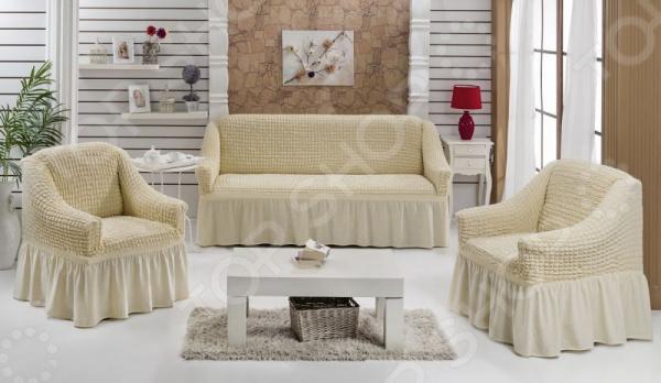 Натяжные чехлы на трехместный диван, двуспальную кровать и чехлы на 2 кресла Karbeltex с оборкой. Цвет: ванильный