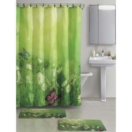 Купить Набор для ванной комнаты: 2 коврика и шторка с крючками Рыжий кот «Лето»