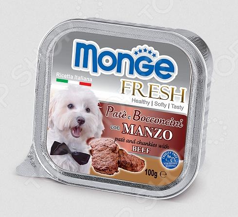 Корм консервированный для собак Monge Fresh Pate e Bocconcini con Manzo