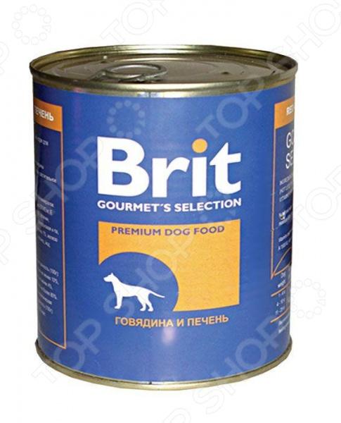 Корм консервированный для собак Brit «Говядина и печень»