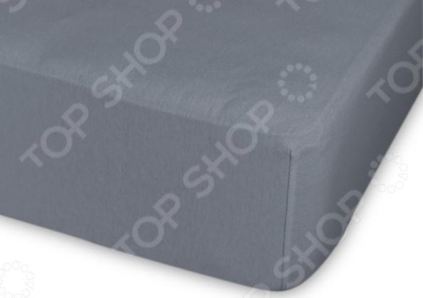 Простыня трикотажная на резинке Cleo гладкокрашеная. Цвет: темно-серый простыня на резинке cleo 160х200 см cl