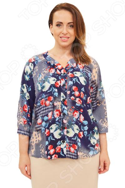 Блуза СВМ-ПРИНТ «Цветы Марии». Цвет: синий, оранжевый