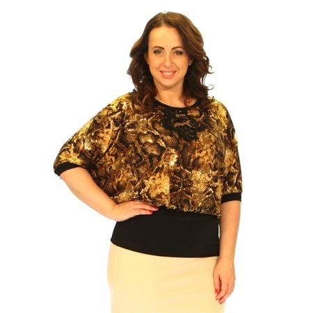 Купить Блуза Wisell «Красота женщины». Цвет: черный, коричневый