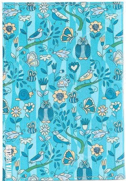 Обложка для автодокументов кожаная Mitya Veselkov «Голубой принт с птичками»