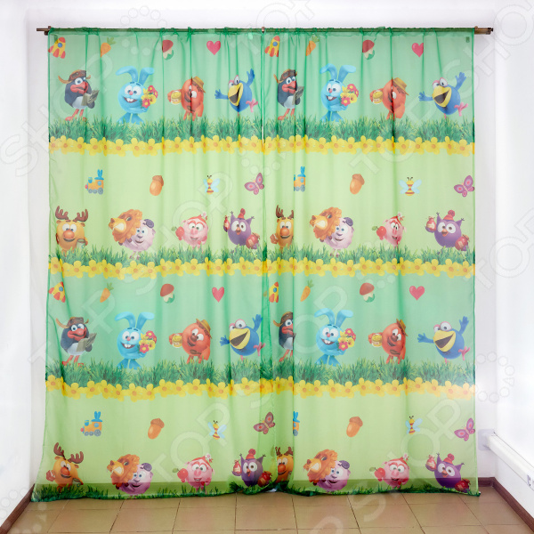 фото Комплект тюля детского Сирень «Смешарики летом», Портьеры для детской комнаты