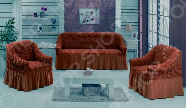 Натяжной чехол на трехместный диван и чехлы на два кресла Karbeltex 1731168