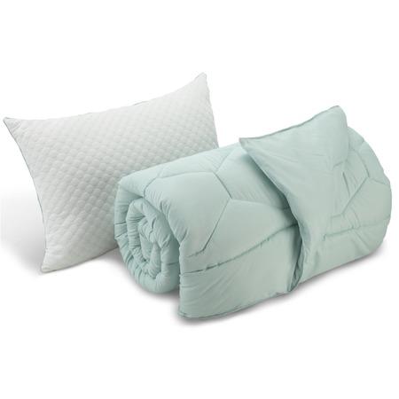 Купить Комплект: подушка и одеяло Dormeo «Вдохновение». Цвет: лазурный. Размер: 200х200. Уцененный товар