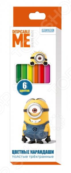 Набор толстых цветных карандашей Миньоны «Гадкий Я»: 6 цветов