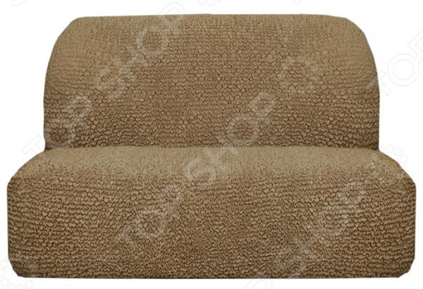 Натяжной чехол на двухместный диван без подлокотников Еврочехол «Микрофибра. Кофейный»