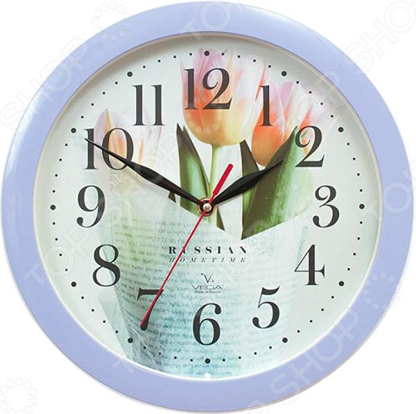 Часы настенные Вега П 1-13/7-278 «Сиреневые тюльпаны» часы вега п 1 247 7 247 желтые тюльпаны