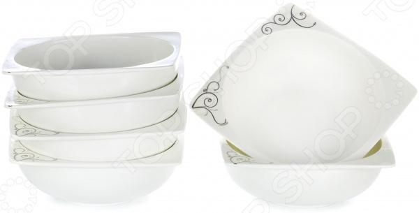 Набор салатников OlAff «Белый квадрат: узоры» фруктовница olaff кетцаль узоры 2 яруса kr scp011 012 1056b