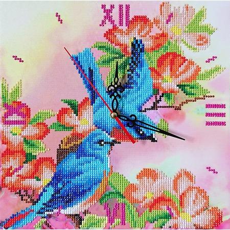 Купить Часы из алмазной мозаики Color Kit «Райские птички»